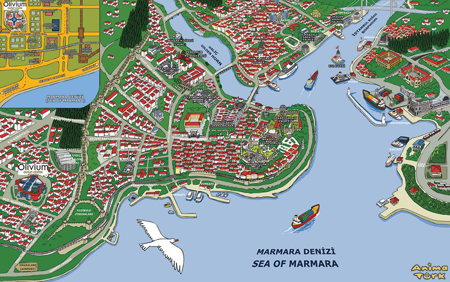 Caricatured Map of Istanbul